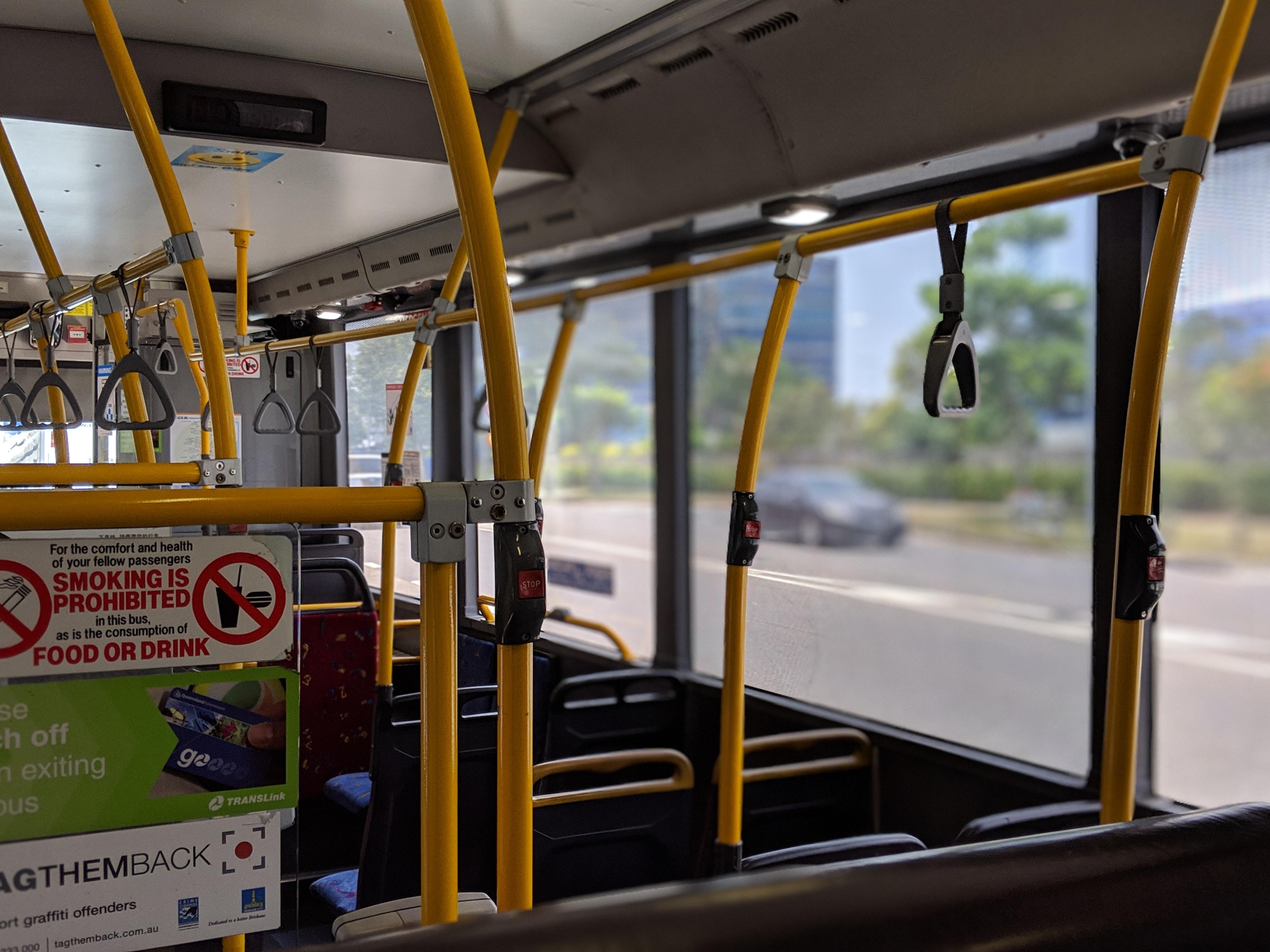Inside a Brisbane Translink bus