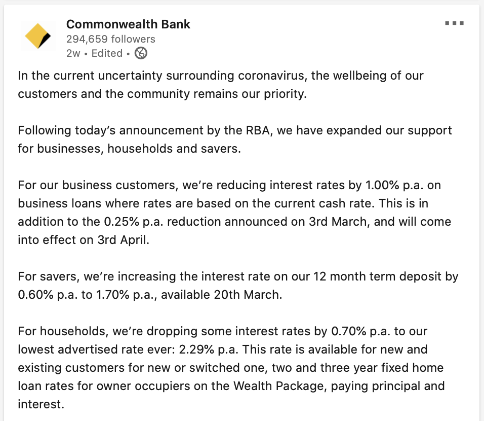 LinkedIn update from Commonwealth Bank