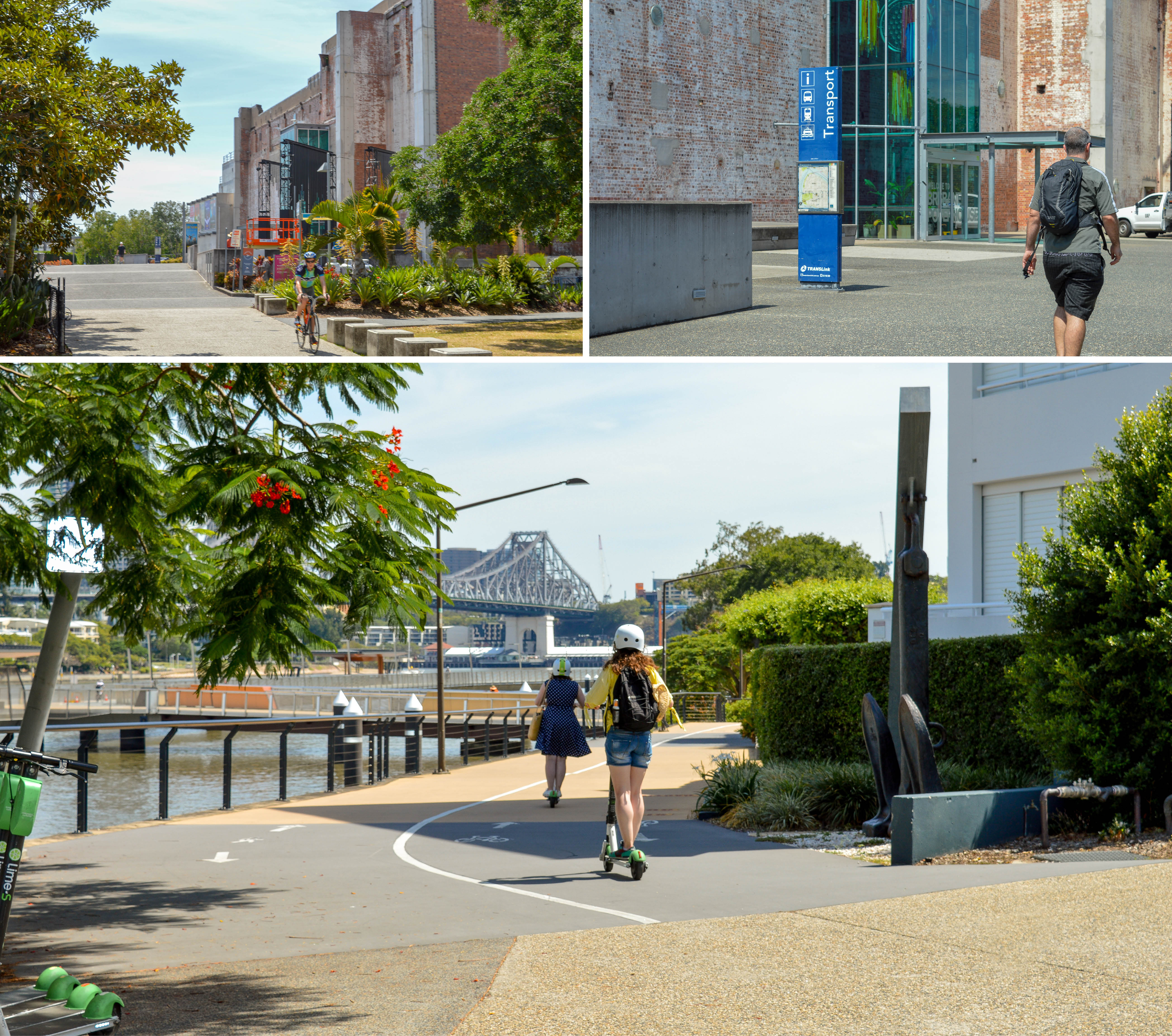 Commuters walking, riding bikes and using lime scooters near the Brisbane Powerhouse and Riverwalk
