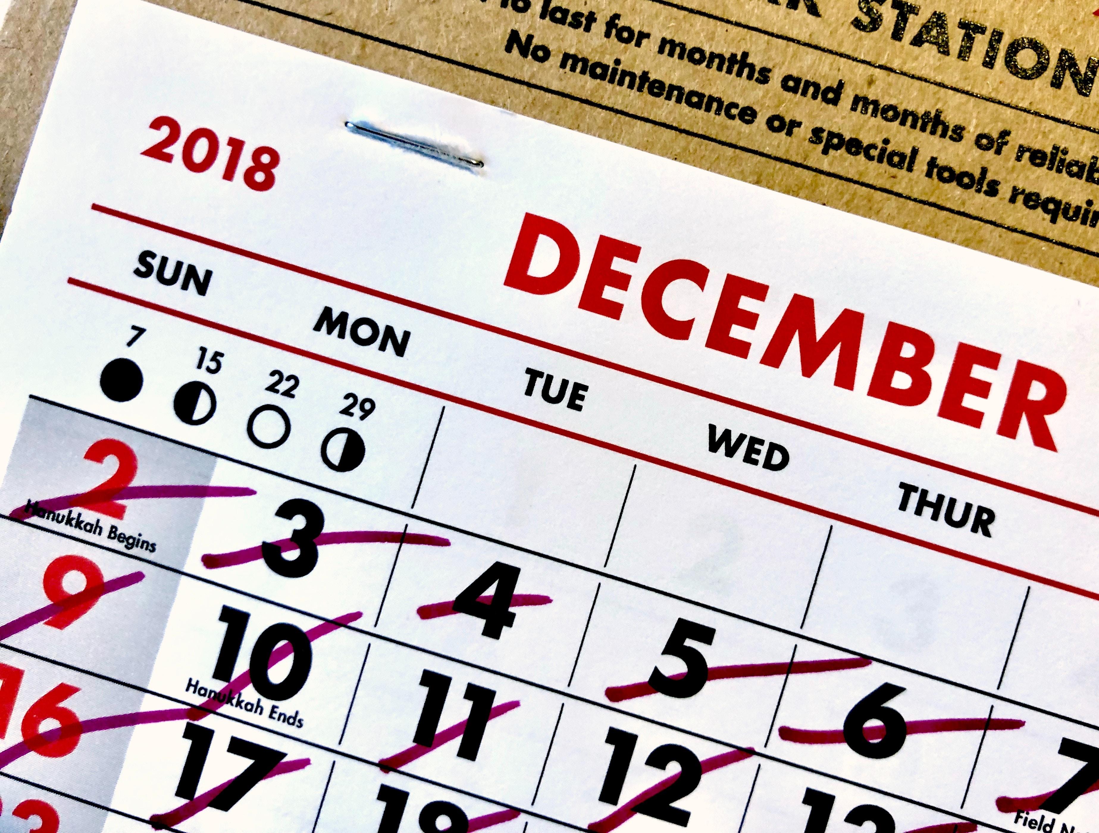 calendar page december