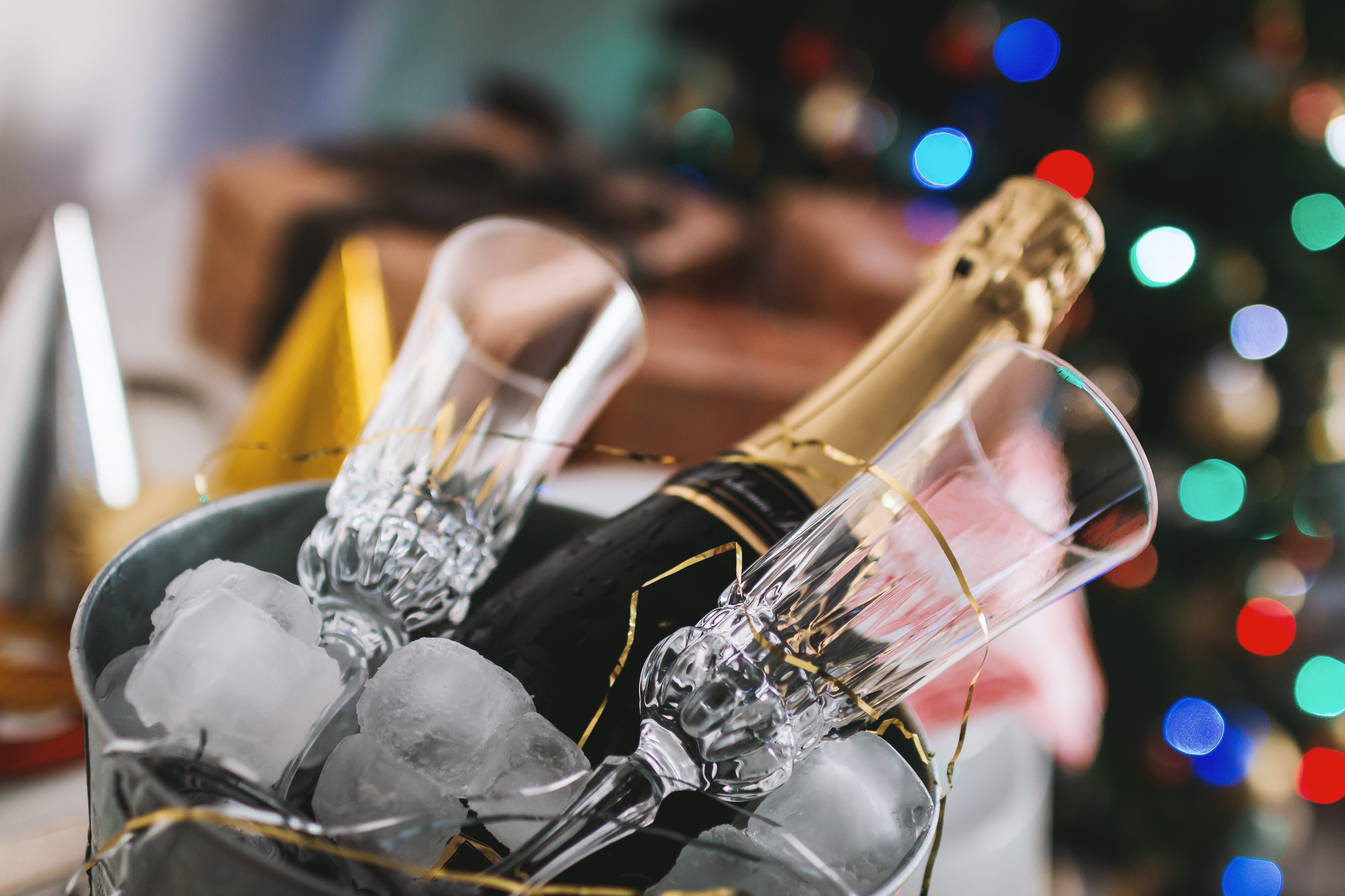 Ice bucket with Champagne and Glasses on New Years Eve