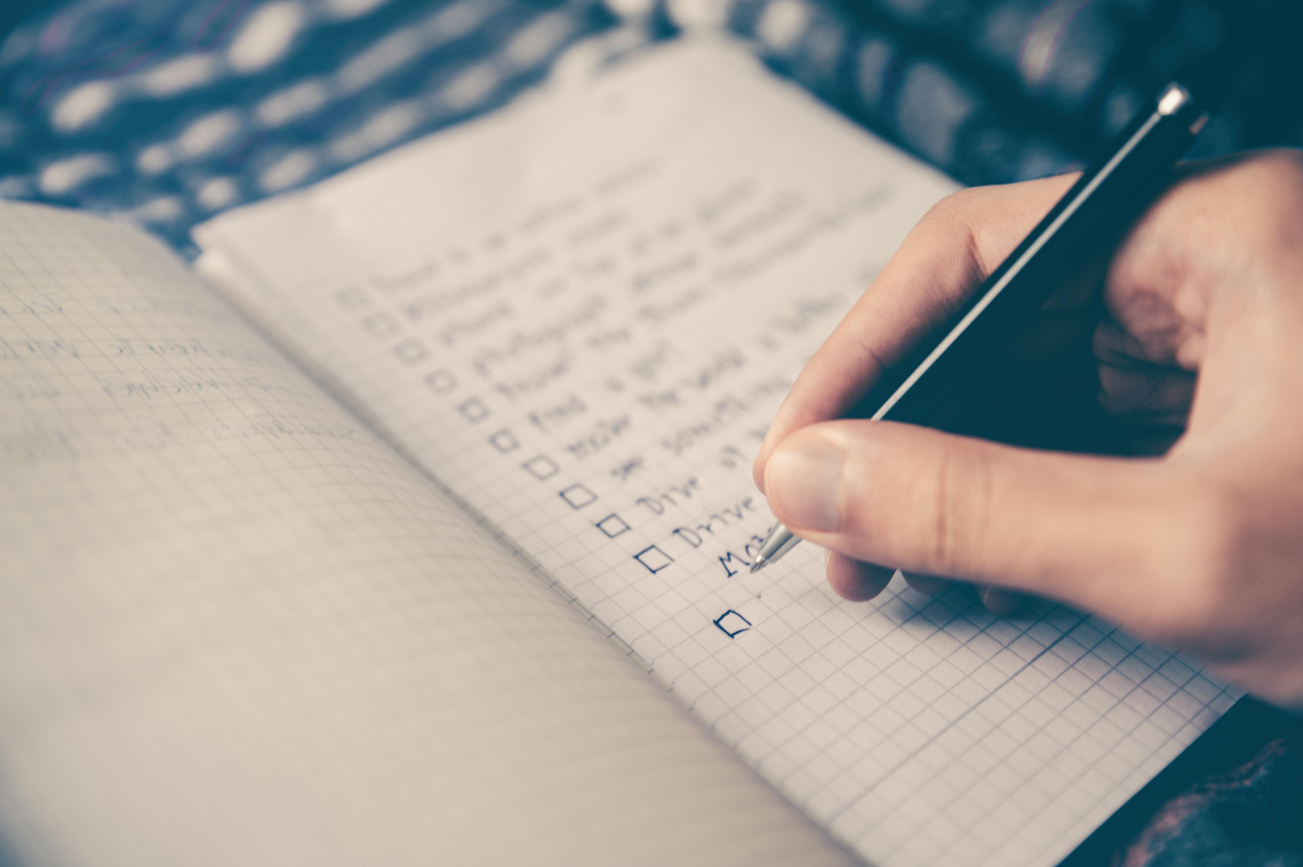 to-do list being written